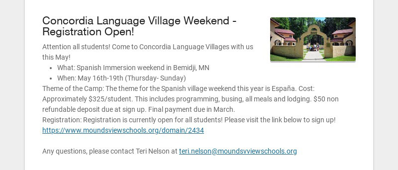 Concordia Language Village Weekend - Registration Open!