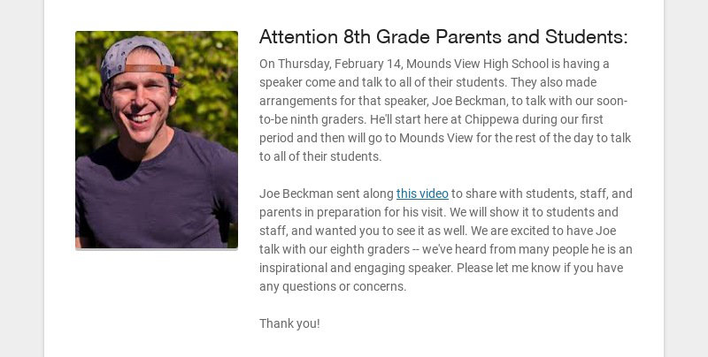 Attention 8th Grade Parents and Students: