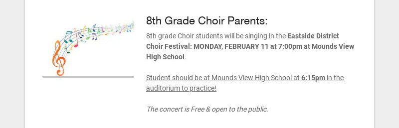 8th Grade Choir Parents: