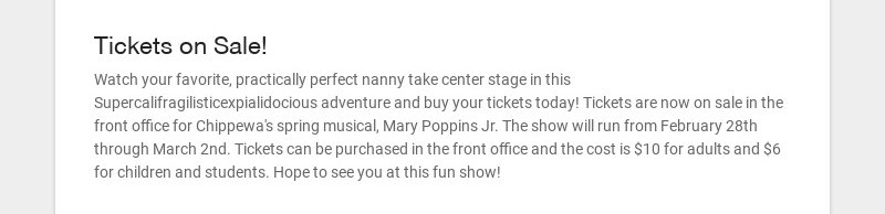 Tickets on Sale!