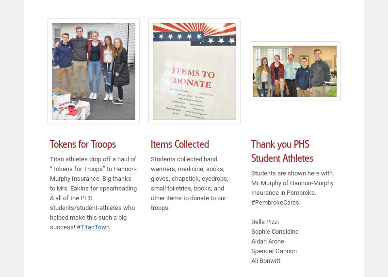 """Tokens for Troops Titan athletes drop off a haul of """"Tokens for Troops"""" to Hannon-Murphy..."""
