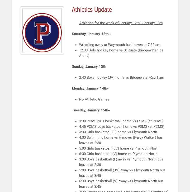Athletics Update Athletics for the week of January 12th - January 18th Saturday, January 12th~...