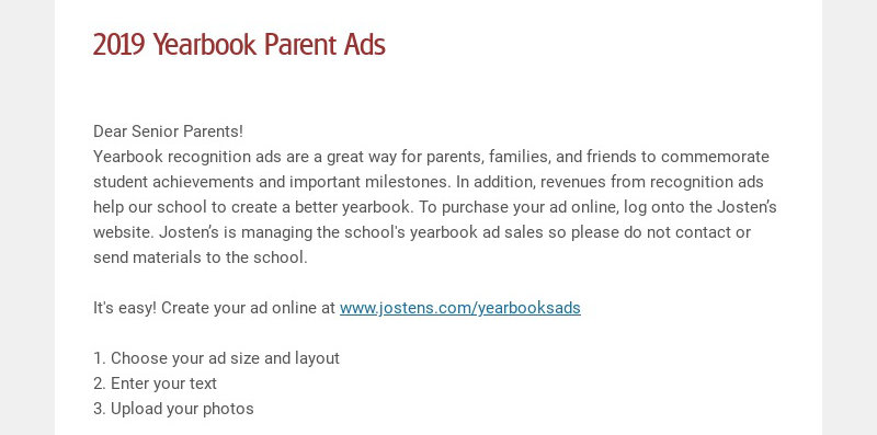 2019 Yearbook Parent Ads Dear Senior Parents! Yearbook recognition ads are a great way for...
