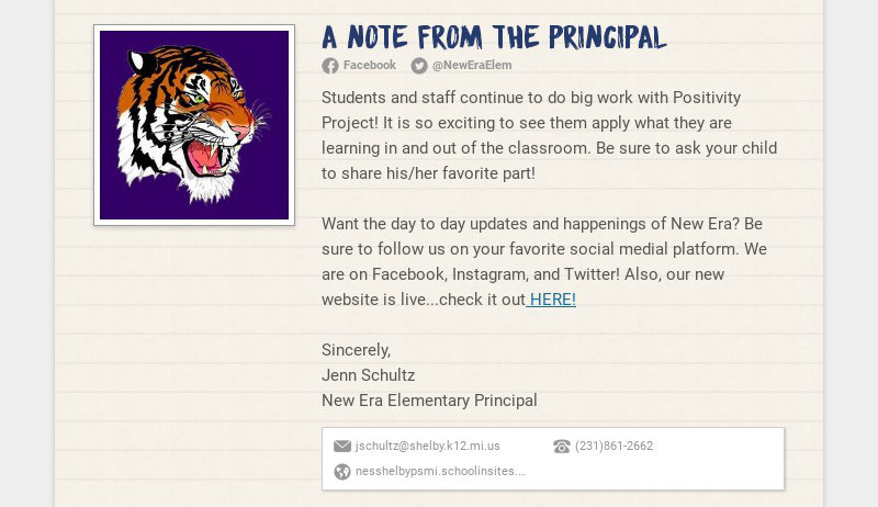 A Note from the Principal Facebook @NewEraElem Students and staff continue to do big work with...