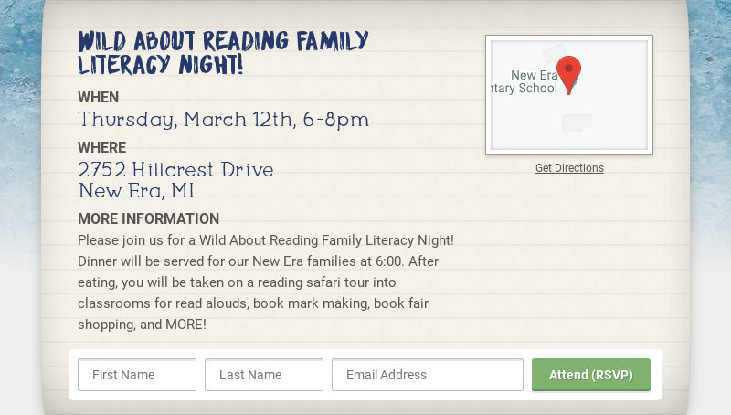 Wild About Reading Family Literacy Night! WHEN Thursday, March 12th, 6-8pm WHERE 2752 Hillcrest...