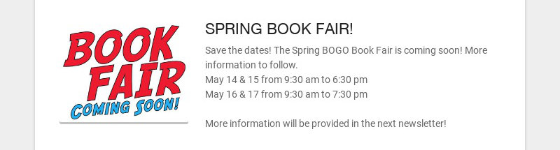 SPRING BOOK FAIR!