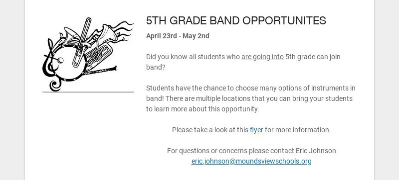 5TH GRADE BAND OPPORTUNITES