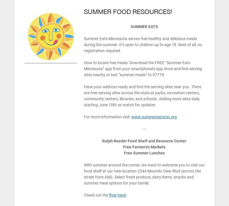 SUMMER FOOD RESOURCES! SUMMER EATS Summer Eats Minnesota serves free healthy and delicious...
