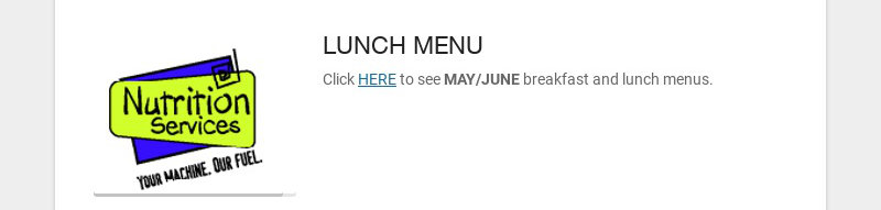 LUNCH MENU Click HERE to see MAY/JUNE breakfast and lunch menus.