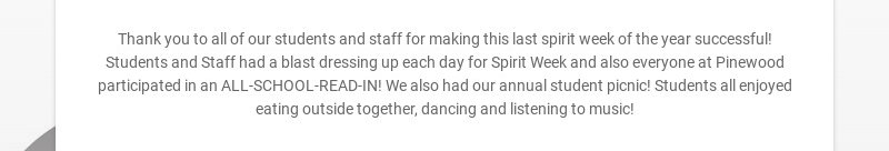 Thank you to all of our students and staff for making this last spirit week of the year...