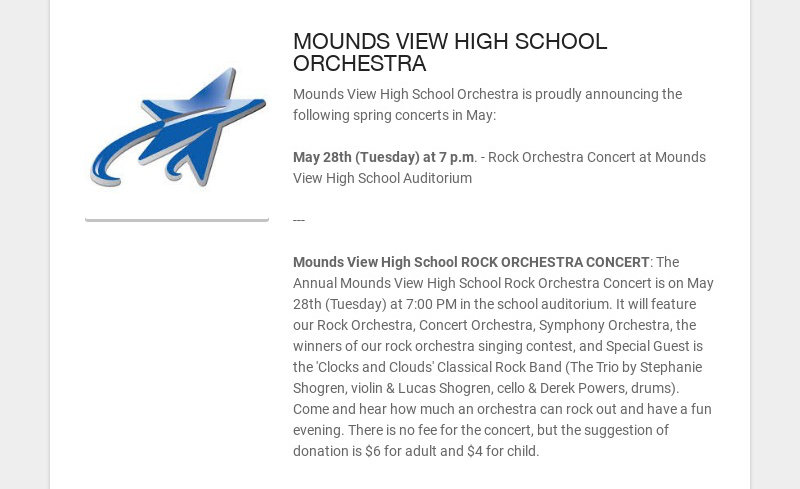 MOUNDS VIEW HIGH SCHOOL ORCHESTRA
