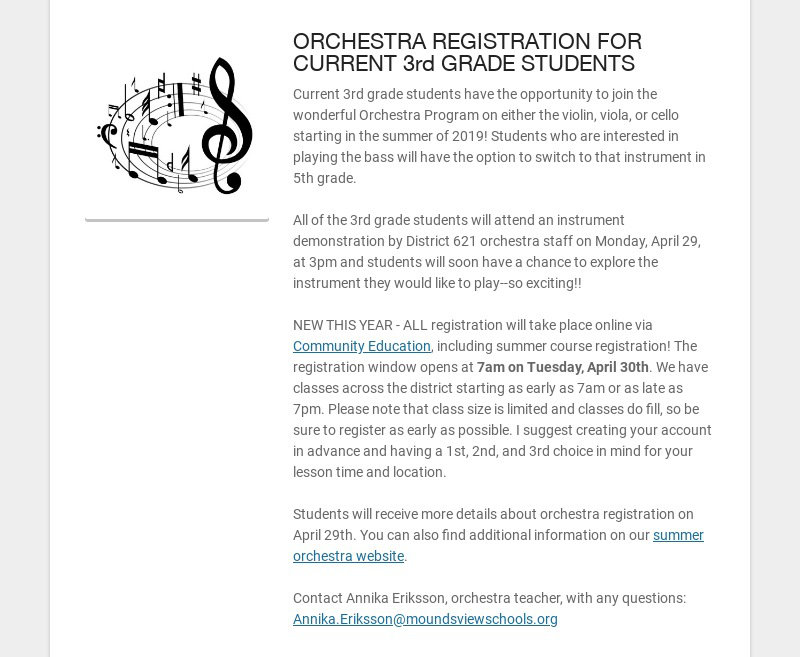 ORCHESTRA REGISTRATION FOR CURRENT 3rd GRADE STUDENTS
