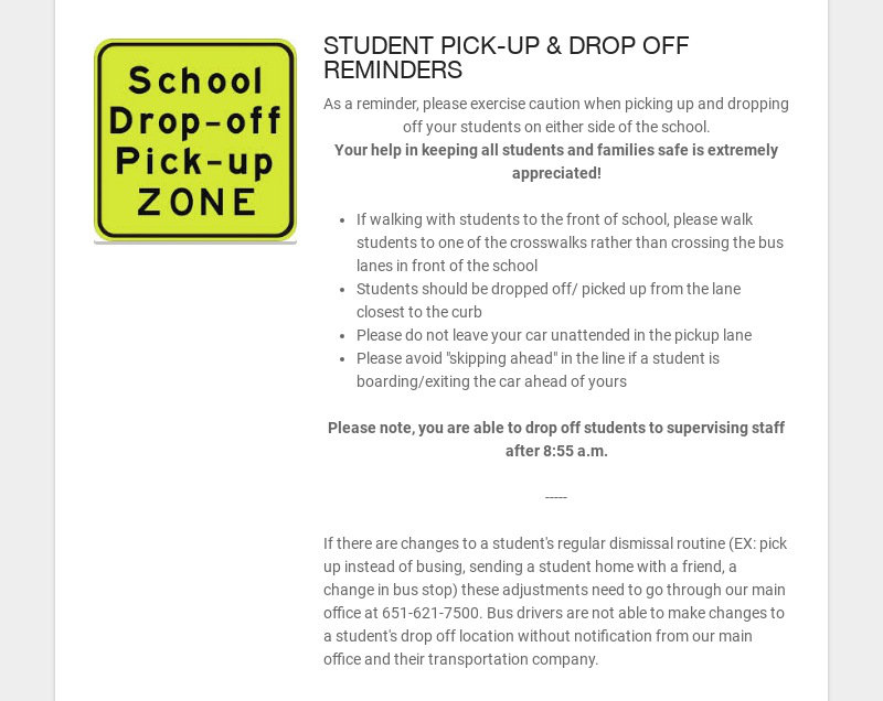 STUDENT PICK-UP & DROP OFF REMINDERS