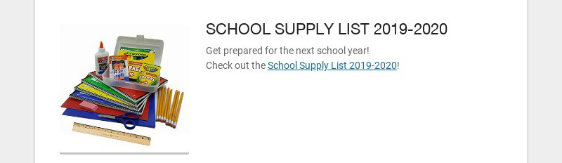 SCHOOL SUPPLY LIST 2019-2020