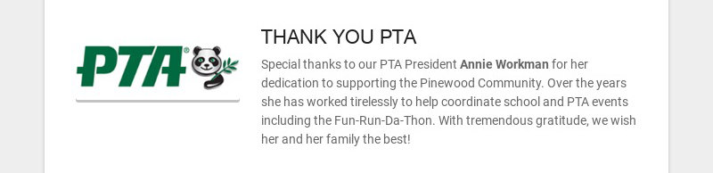 THANK YOU PTA