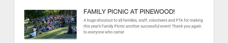 FAMILY PICNIC AT PINEWOOD!