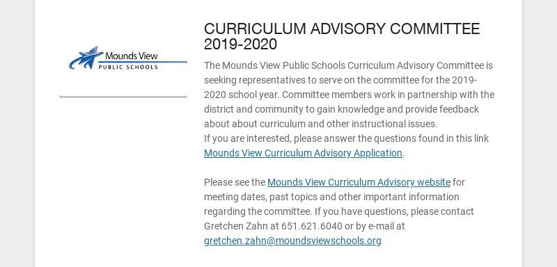 CURRICULUM ADVISORY COMMITTEE 2019-2020