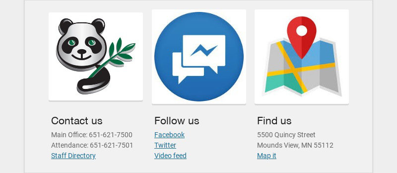 Contact us Main Office: 651-621-7500 Attendance: 651-621-7501 Staff Directory Follow us...