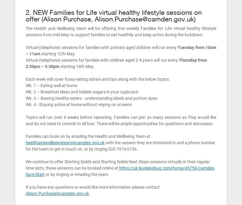 2. NEW Families for Life virtual healthy lifestyle sessions on offer (Alison Purchase,...