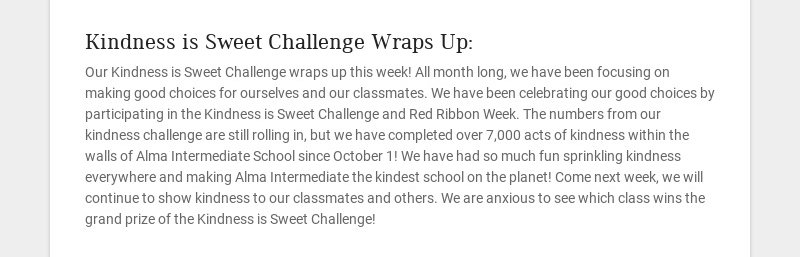 Kindness is Sweet Challenge Wraps Up: