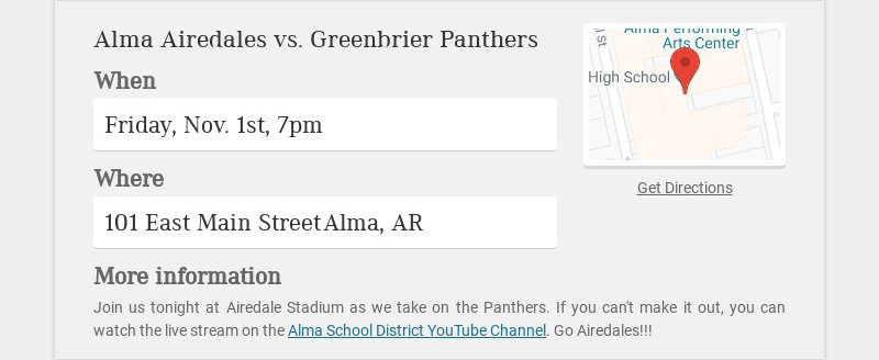 Alma Airedales vs. Greenbrier Panthers