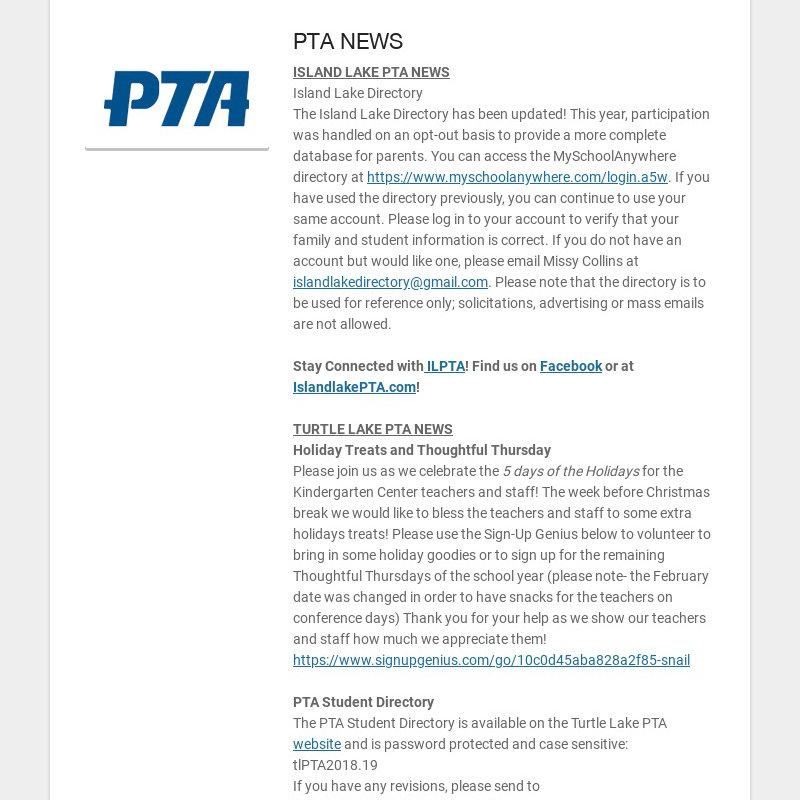 PTA NEWS ISLAND LAKE PTA NEWS Island Lake Directory The Island Lake Directory has been updated!...