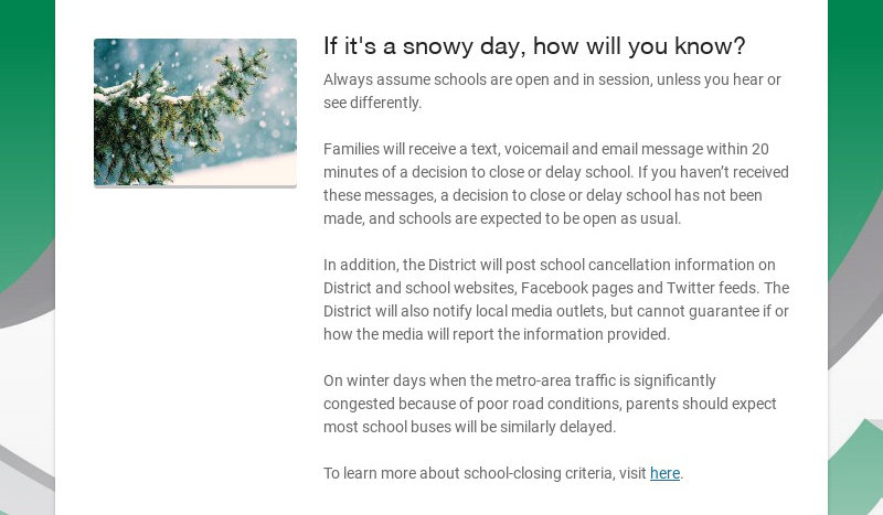 If it's a snowy day, how will you know?