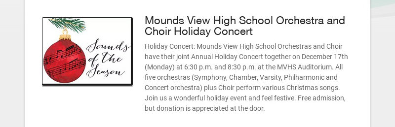 Mounds View High School Orchestra and Choir Holiday Concert