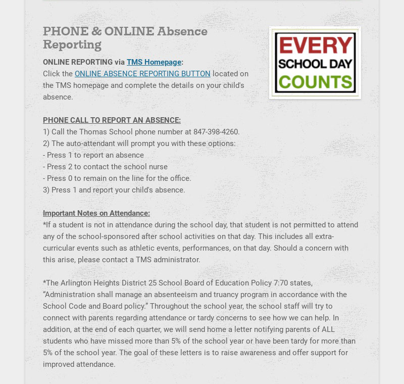 PHONE & ONLINE Absence Reporting ONLINE REPORTING via TMS Homepage: Click the ONLINE ABSENCE...