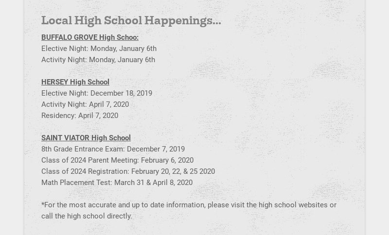 Local High School Happenings... BUFFALO GROVE High Schoo: Elective Night: Monday, January 6th...