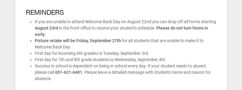 REMINDERS