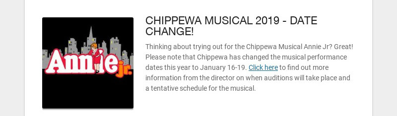 CHIPPEWA MUSICAL 2019 - DATE CHANGE!