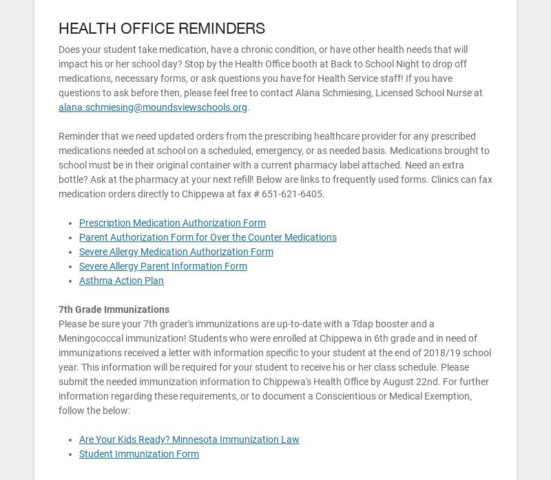 HEALTH OFFICE REMINDERS