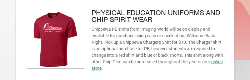 PHYSICAL EDUCATION UNIFORMS AND CHIP SPIRIT WEAR