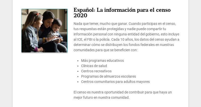 Español: La información para el censo 2020 Nada que temer, mucho que ganar. Cuando participas en...