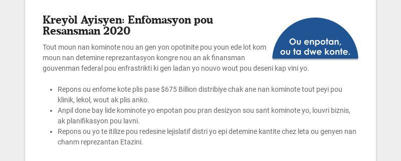 Kreyòl Ayisyen: Enfòmasyon pou Resansman 2020 Tout moun nan kominote nou an gen yon opotinite pou...