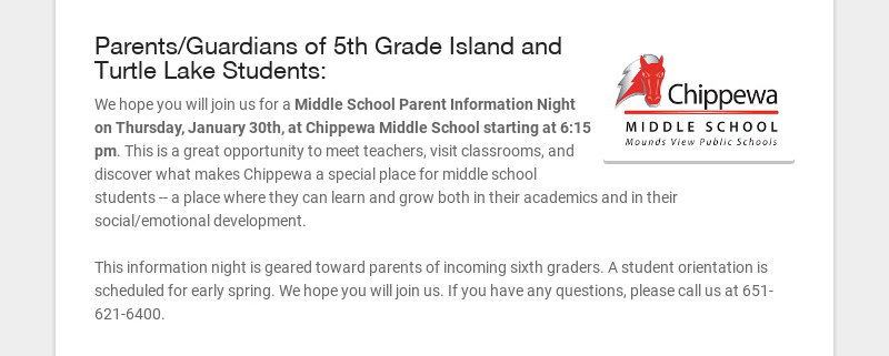Parents/Guardians of 5th Grade Island and Turtle Lake Students: We hope you will join us for a...