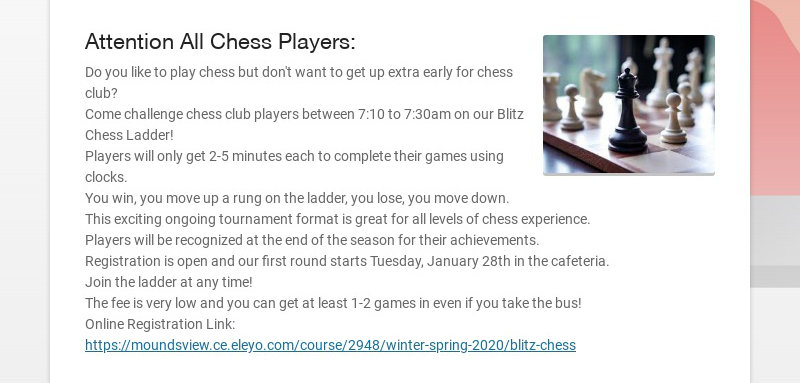 Attention All Chess Players: Do you like to play chess but don't want to get up extra early for...