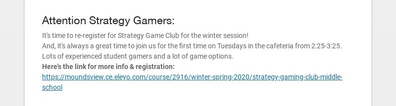 Attention Strategy Gamers: It's time to re-register for Strategy Game Club for the winter...