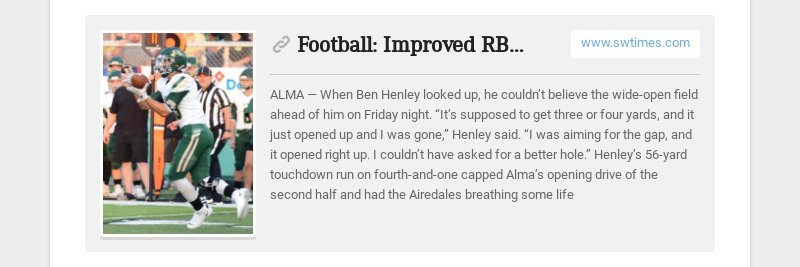 Football: Improved RB Henley providing spark for Airedales