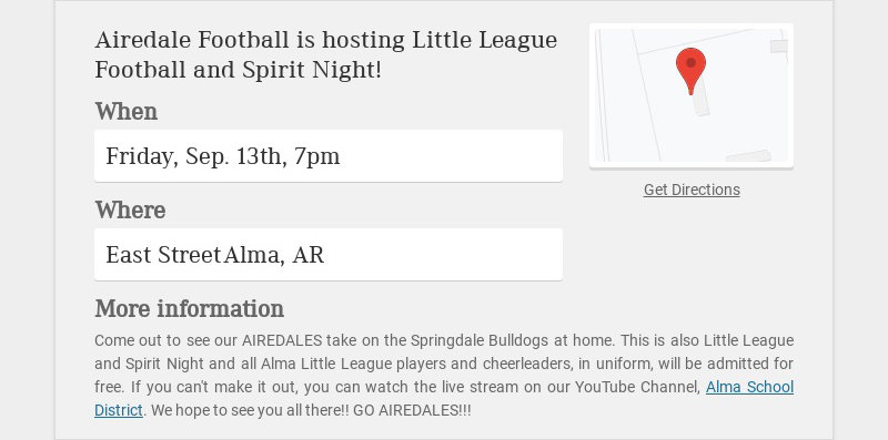 Airedale Football is hosting Little League Football and Spirit Night!