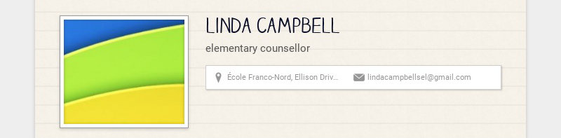 linda campbell elementary counsellor École Franco-Nord, Ellison Drive, Prince George, BC, Canada...