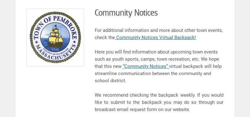 Community Notices For additional information and more about other town events, check the...