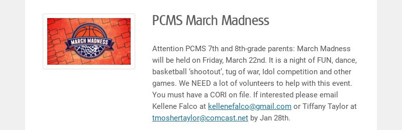 PCMS March Madness Attention PCMS 7th and 8th-grade parents: March Madness will be held on...