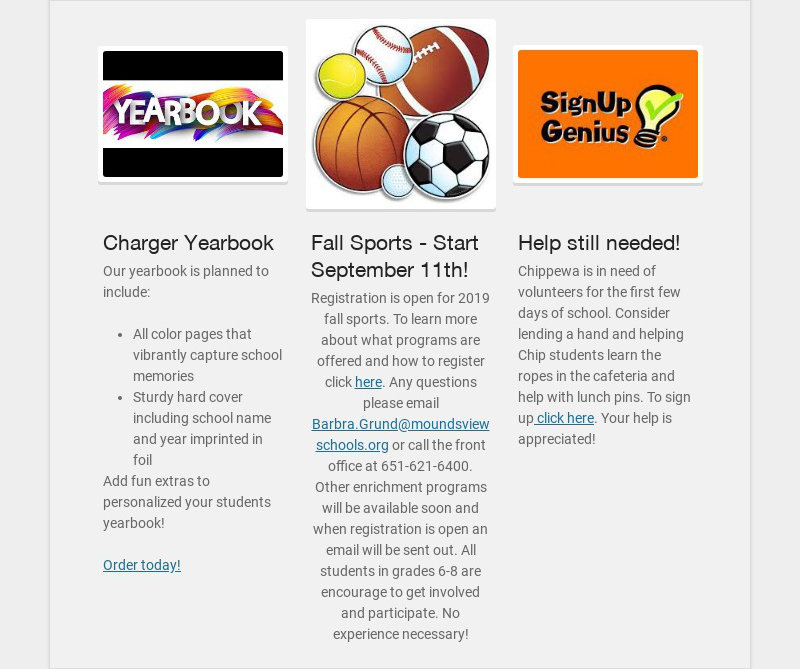 Charger Yearbook Our yearbook is planned to include: All color pages that vibrantly capture...