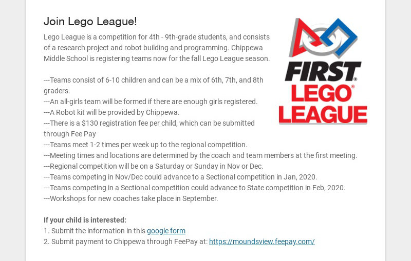 Join Lego League! Lego League is a competition for 4th - 9th-grade students, and consists of a...