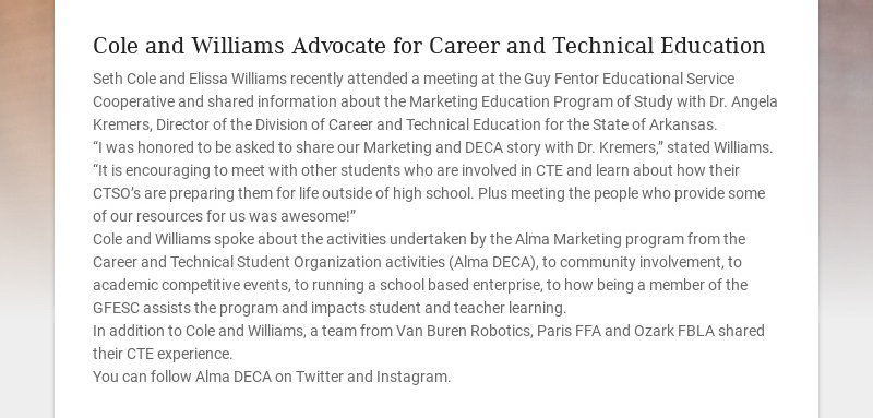 Cole and Williams Advocate for Career and Technical Education
