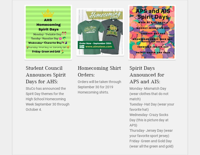 Student Council Announces Spirit Days for AHS: StuCo has announced the Spirit Day themes for the...