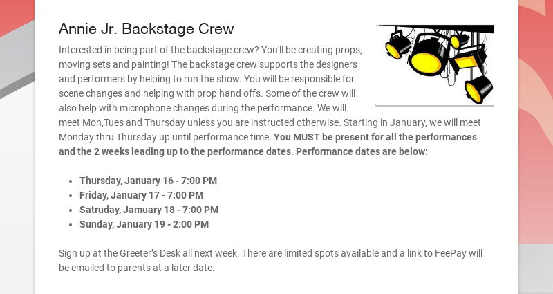 Annie Jr. Backstage Crew