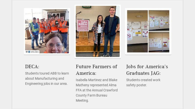 DECA: Students toured ABB to learn about Manufacturing and Engineering jobs in our area. Future...
